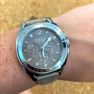 Coach Watch with Platinum Leather Strap